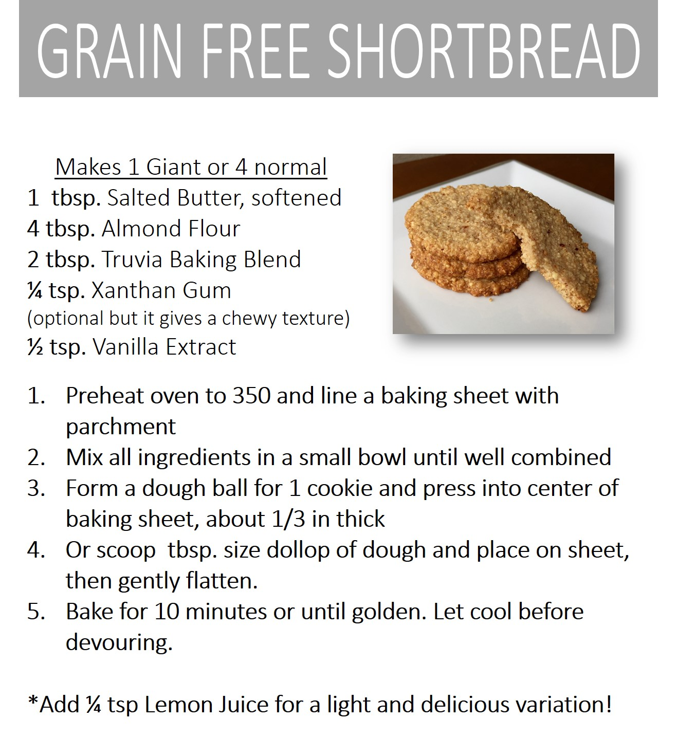 Grain Free Shortbread Recipe